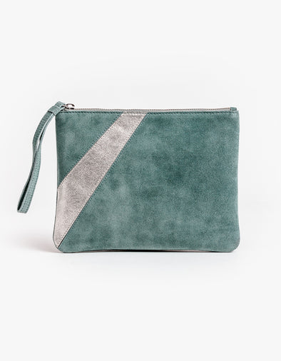 Stella & Gemma Suede Clutch - Grey with Silver Stripe