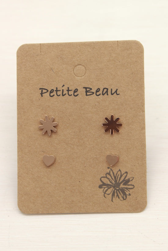 Petite Beau Flower Heart Earrings