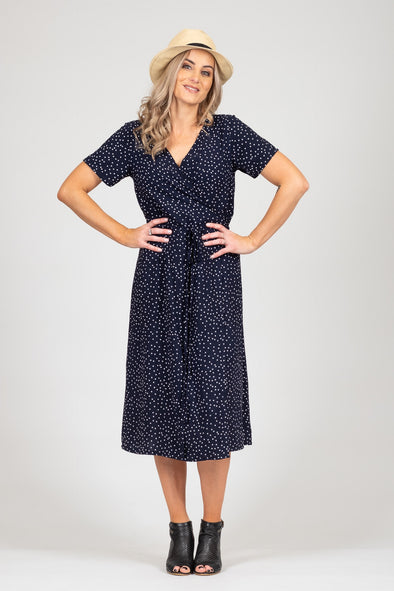 White Chalk - Janey Dress - Navy Spot SALE