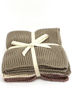 Beau - knitted washcloths set/3