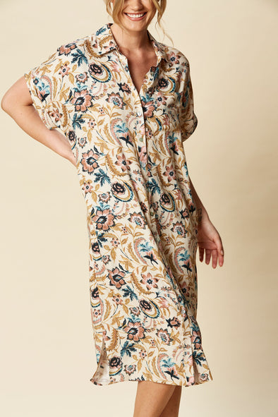 Eb & Ive - Ohana Shirt Dress - Buff Botanical