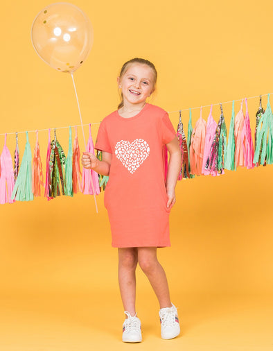Stella & Gemma Mini - Coral dress with animal heart print