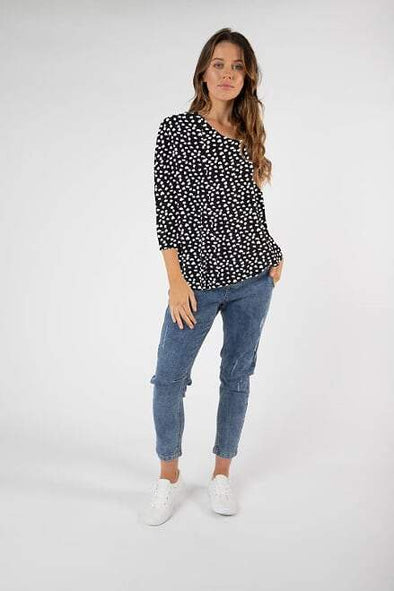 Betty Basics Atlanta 3/4 sleeve top in Ocelot print