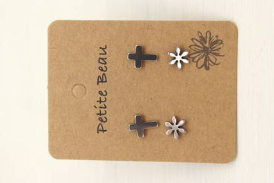 Petite Beau - Cross/Flower Earrings