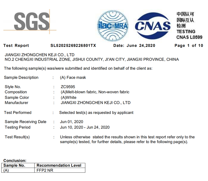 Update: ZHONGCHEN KN95 Face Mask get SGS Test Report