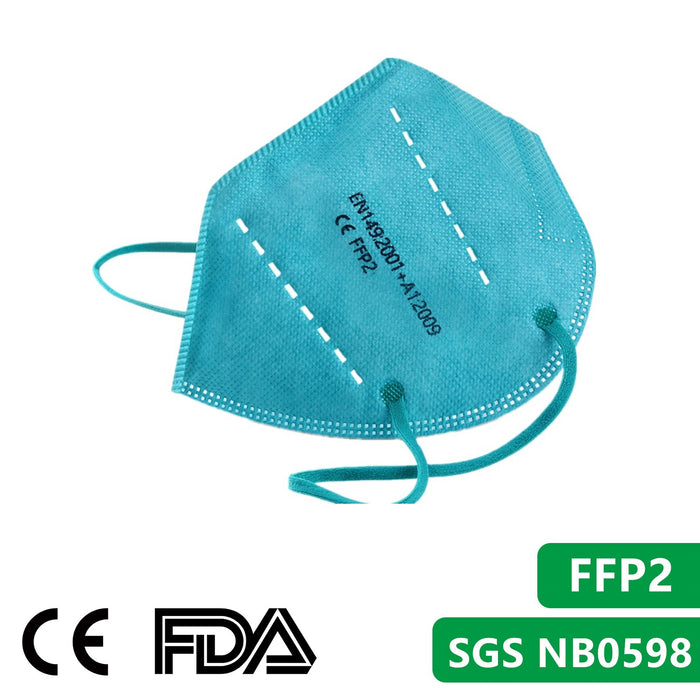 Green,Purple,Blue,Yellow,Cyan Color FFP2 Face Masks, NB0598 CE Qualified Disposable Respirator 5 Layers Mask