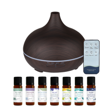 Load image into Gallery viewer, WellbeingMe - Electric Essential Oil Diffuser in Dark wood effect bundle with seven natural pure essential oils and essential oil blends