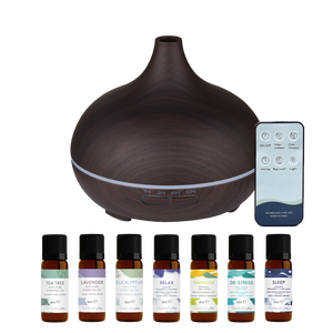 WellbeingMe - Electric Essential Oil Diffuser in Dark wood effect bundle with seven natural pure essential oils and essential oil blends