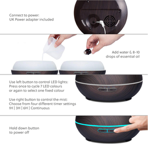 WellbeingMe - Electric Essential Oil Diffuser in Dark wood effect Instructions