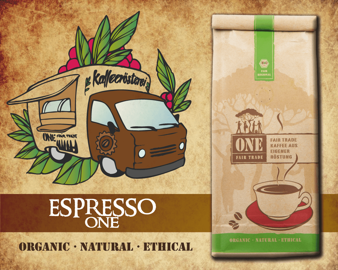 Fairtrade Bio Espresso | Espresso ONE | Grafik von ONE Fairtrade Kaffeemobil | ONE Fairtrade Shop & Kaffeerösterei | Online Shop