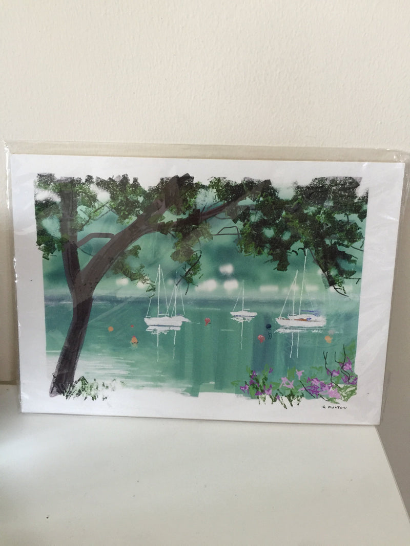 G Fulton boats in water painting