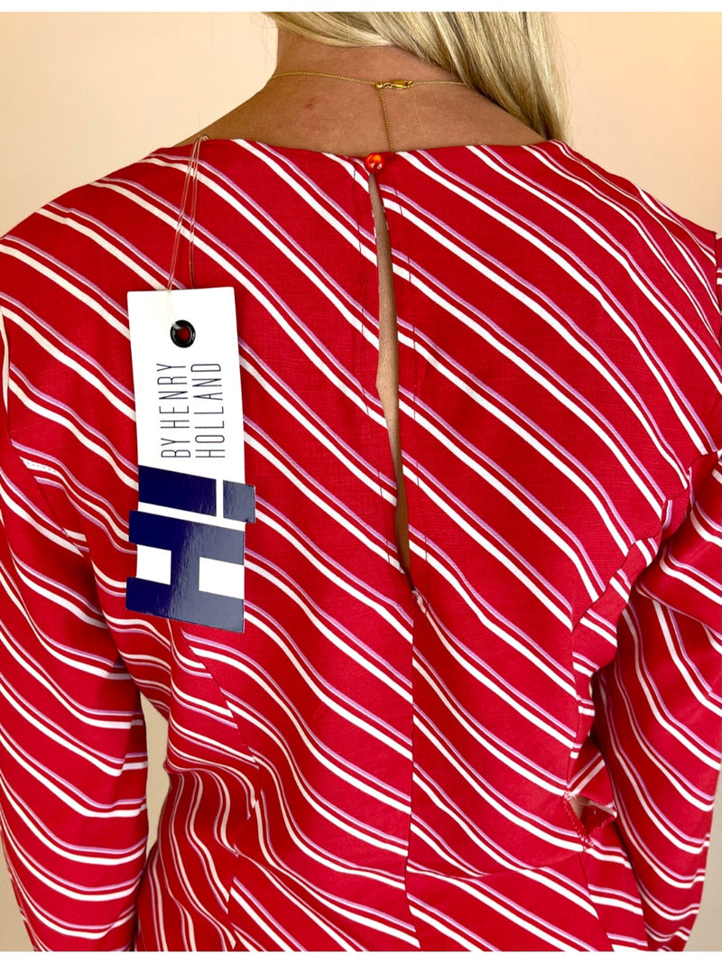 Henry Holland by Debenhams Womens Long Sleeve Top with Tie Back. Medium. Red with Cream & Mauve diagonal stripes