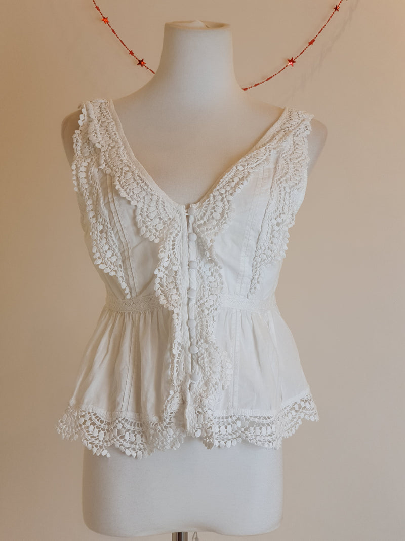 Abercrombie & Fitch White Crochet Top