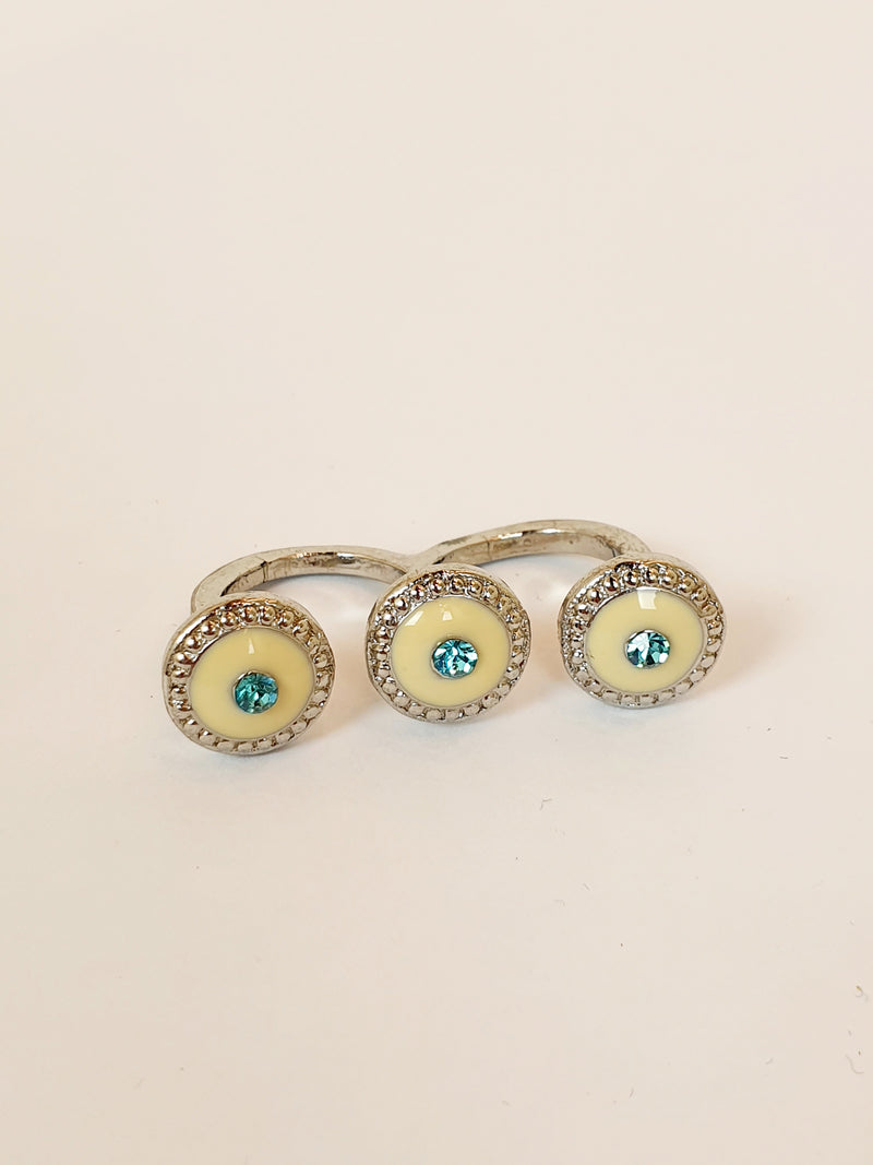 Silver Double Ring with Teal Gem