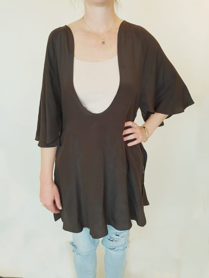 Milla Flowy Brown Shirt (XS) - new with tag