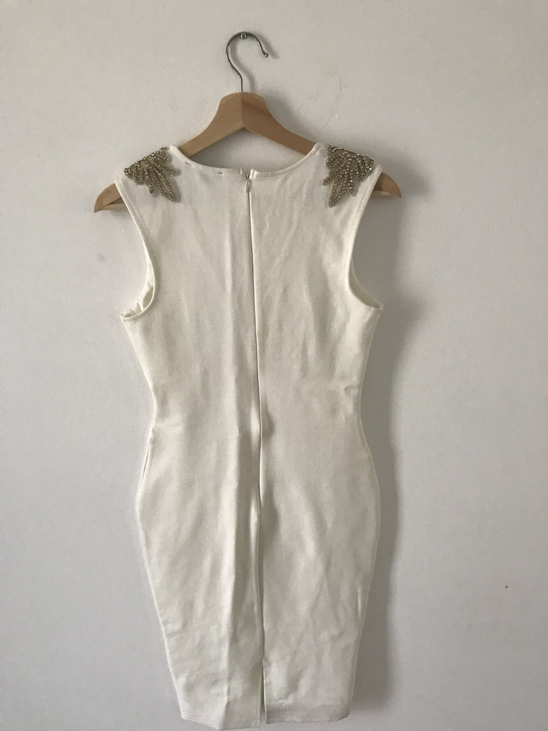 Shop 17 White Bodycon Dress with Detailed Shoulders (Small)