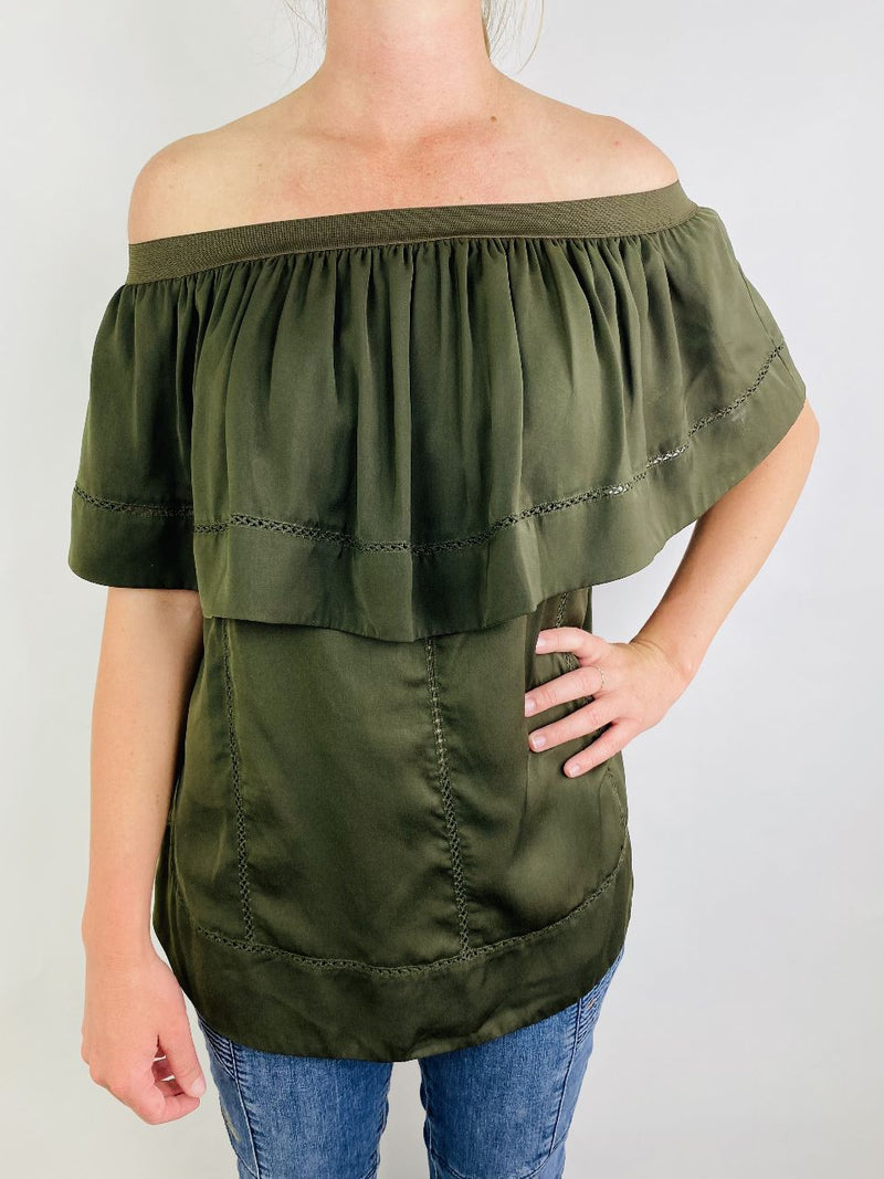 Morrison Olive Green Off the Shoulder Top (Small)