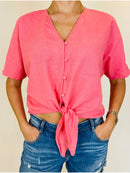 Gallery Pink Button Up Tie Up Front Shirt (Medium)