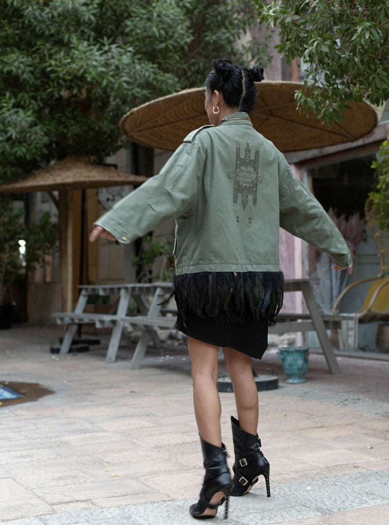 Zara Green Jacket with Embroidered Back and Black Feather Bottom (Large)