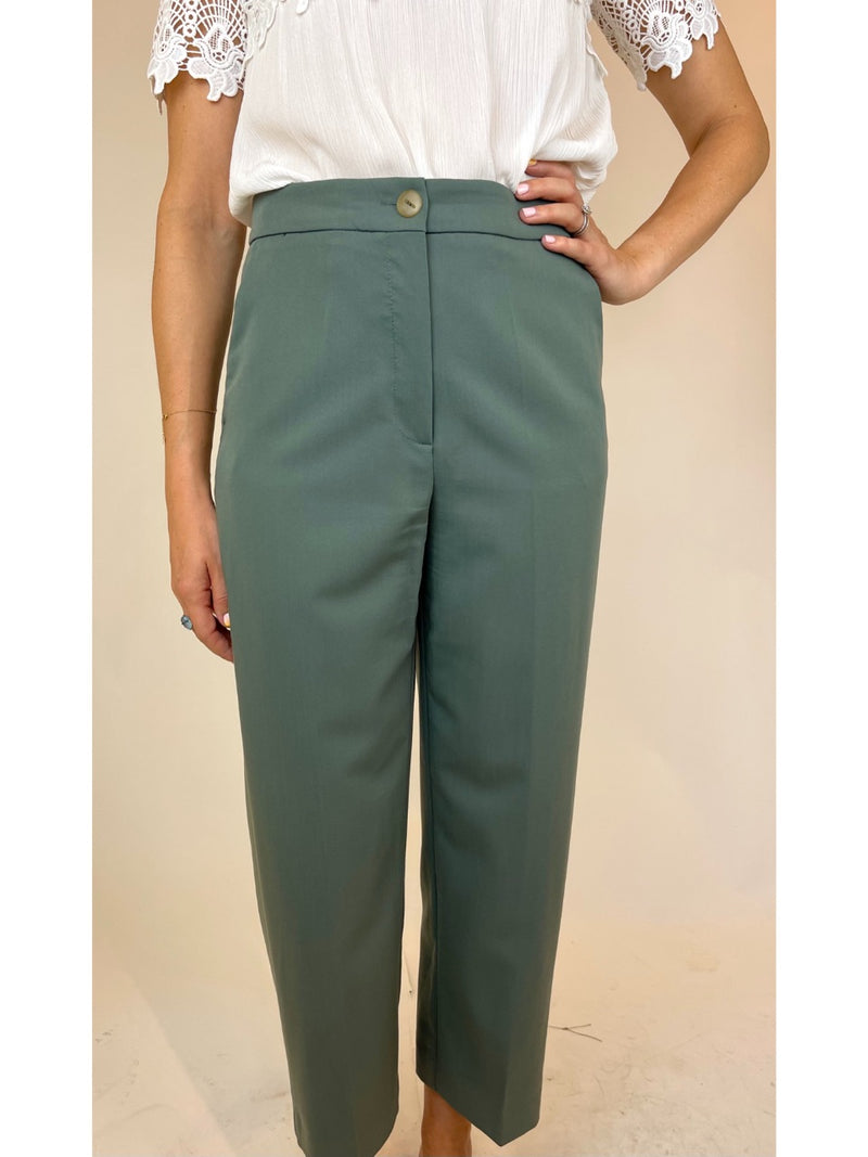 Mango MNG Womans Green Trousers (Medium)