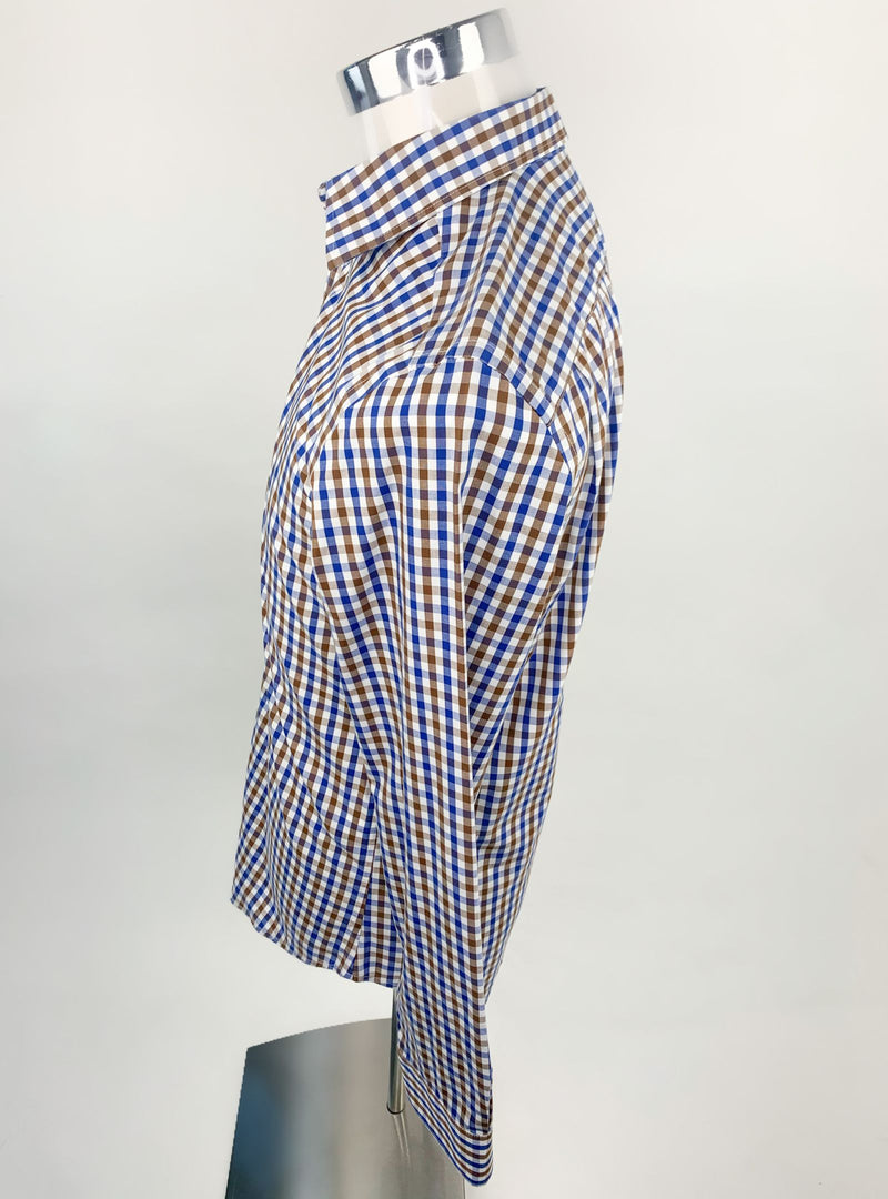 Gap Blue and Brown Checked Shirt (S)
