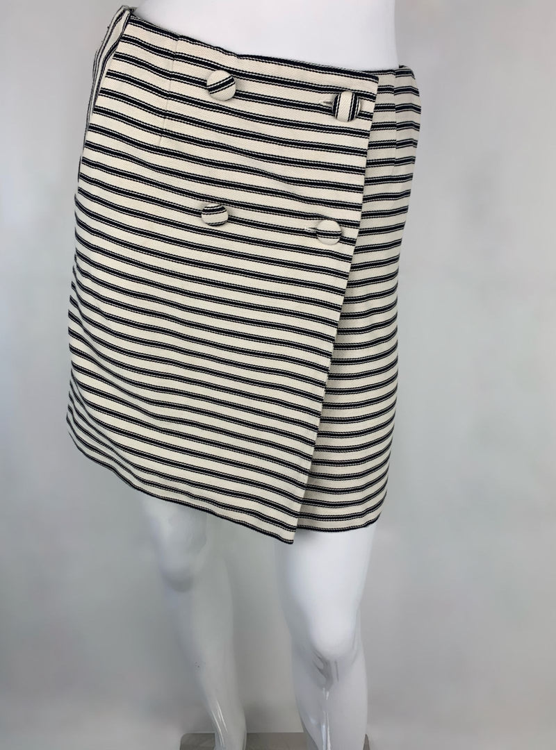 Topshop Ivory/Black Stripped Mini Wrap Skirt (Medium)