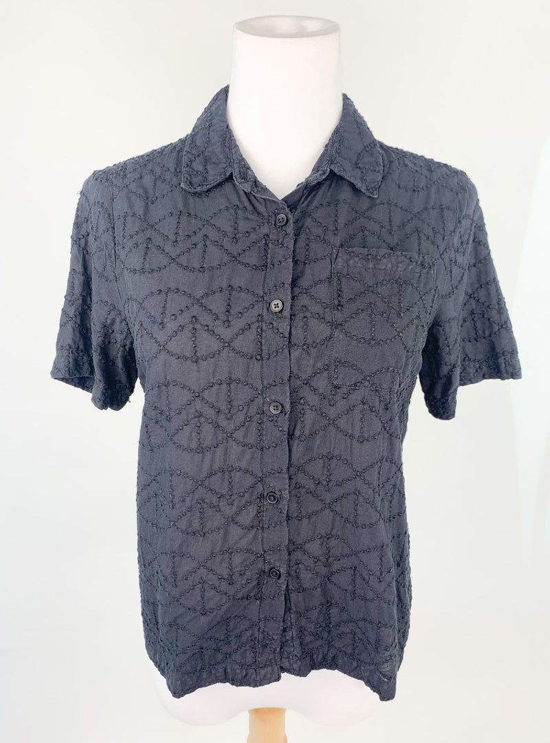 Jack Wills Black Embroidered Shirt (Small)
