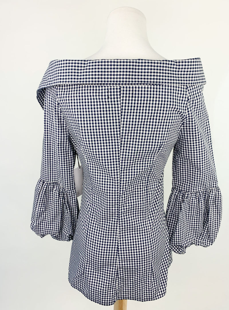 Bailey 44 Gingham Off The Shoulder Shirt (Small)
