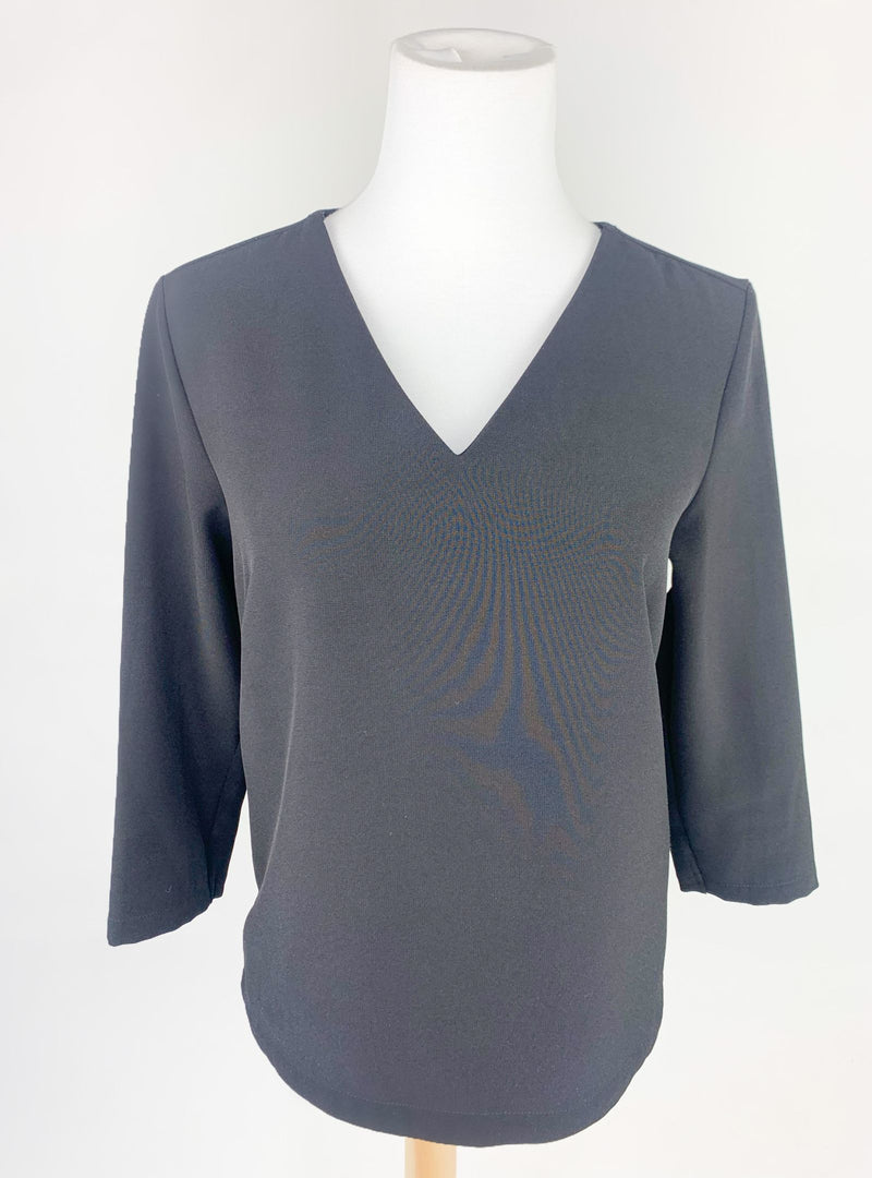 M&S Women's Black V-Neck Top (Small)