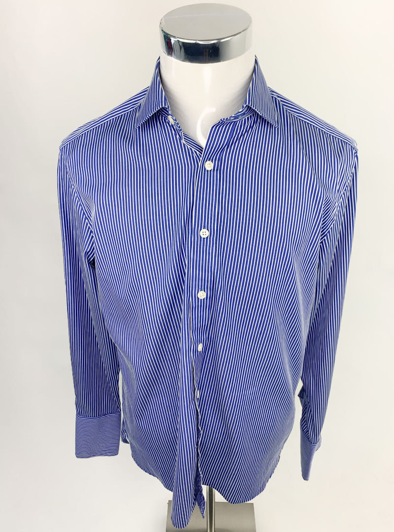 Sartorial Men's Blue/White Stripped Slim Fit Shirt (Large)
