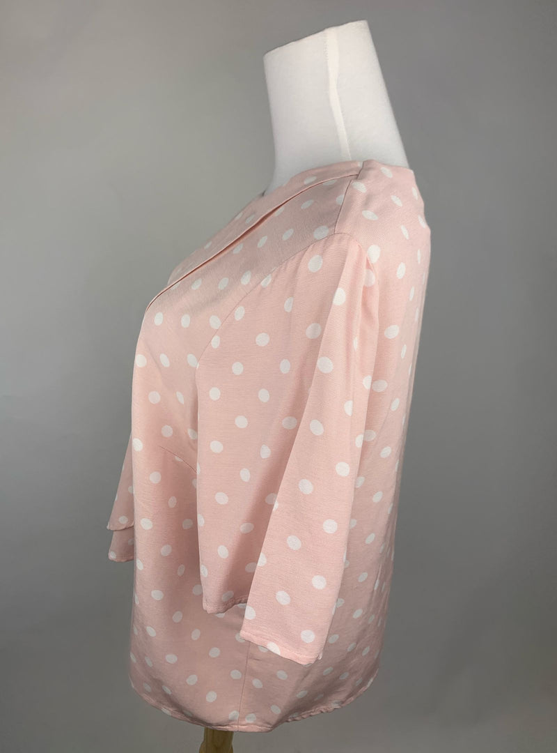 Marks & Spencer Limited Edition Women's Light Pink Blouse with White Polka Dots (Large)