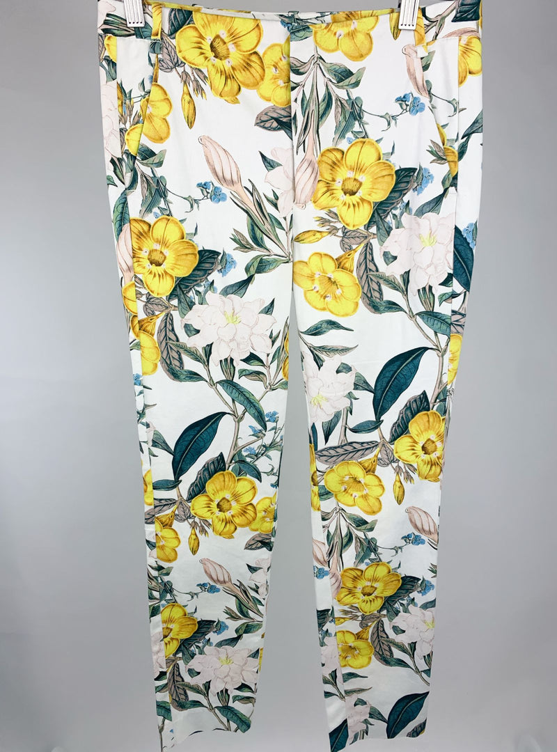 Zara Basic Collection Women's White Smart Trousers with Floral Print (XS)