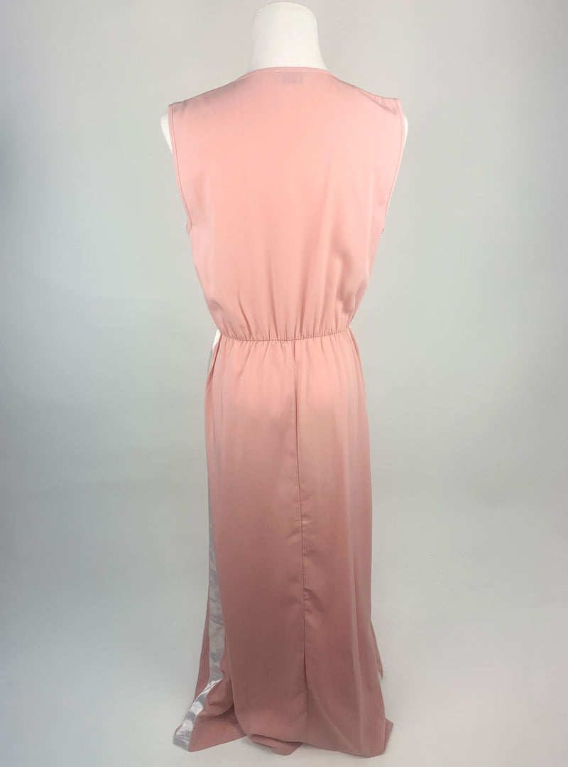 Ella Dusty Pink Long Dress with White Ribbon Detailing (Medium)