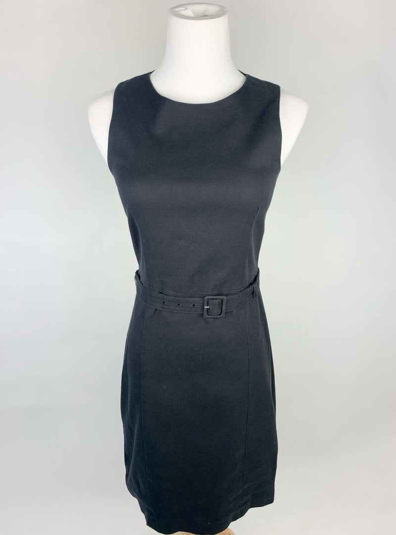 Theory Women's Black Sleeveless Belted Dress (XXS)