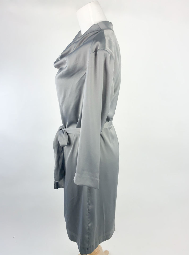 H&M Grey Silky Dress (Small)
