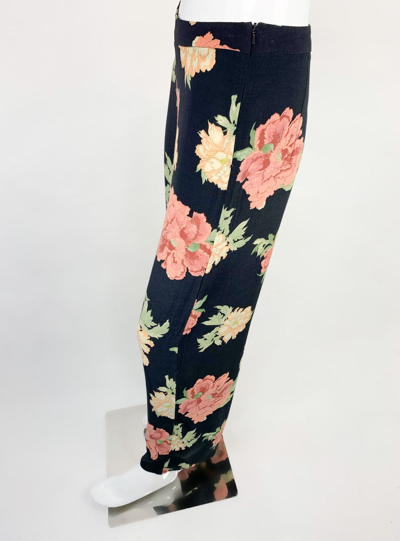 F&F Women's Black Floral Print Palazzo Pants (Medium)