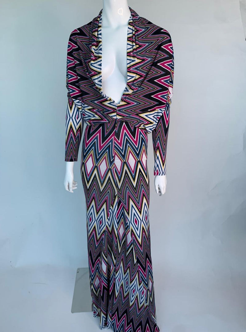 Geomentric Print 3/4 Sleeve Maxi Dress (Medium)