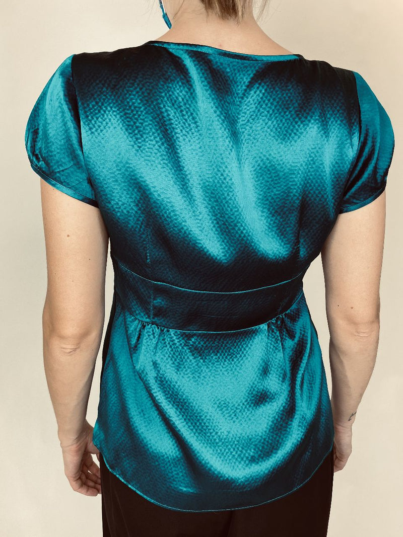 Ann Taylor Jade Green Silk Blouse (Small)