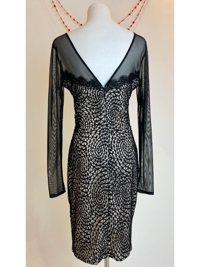 Lipsy London Black Lace Dress with Cream Lining  (Large)