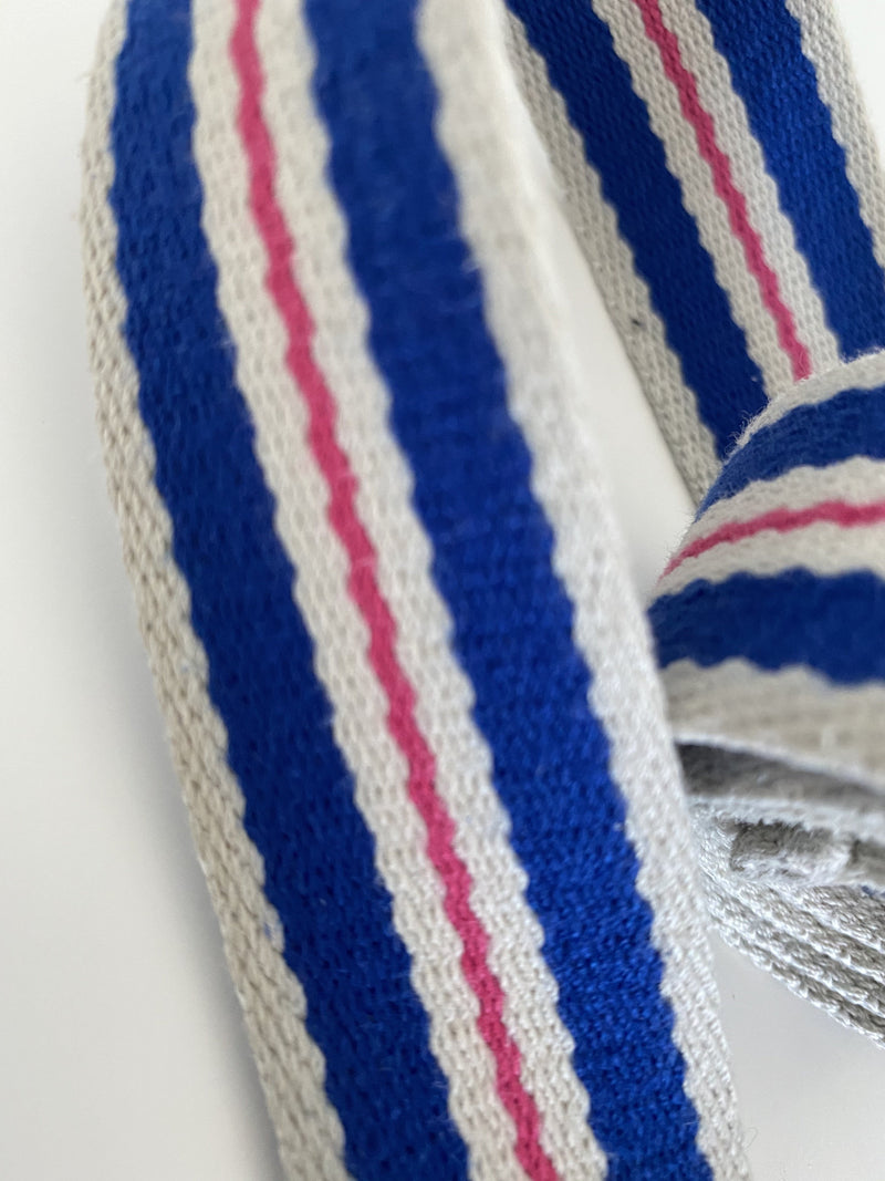 Women's Striped Pink, White and Blue Belt