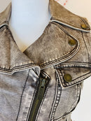 bebe Brown Leather-Look Sleeveless Jacket-Top (Small)