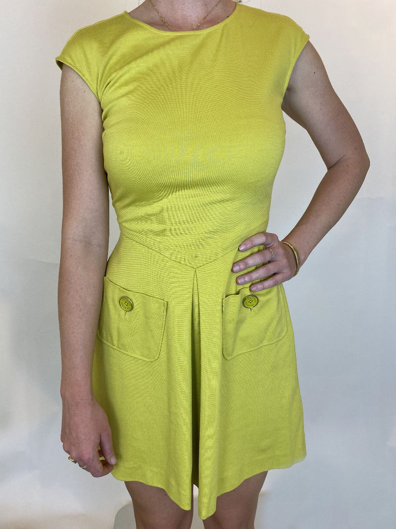 Ted Baker Yellow Sheath Dress With Front Pockets (XS)