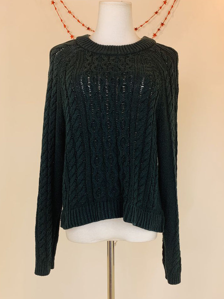 H&M Green Knitted Cotton Jumper (Large)