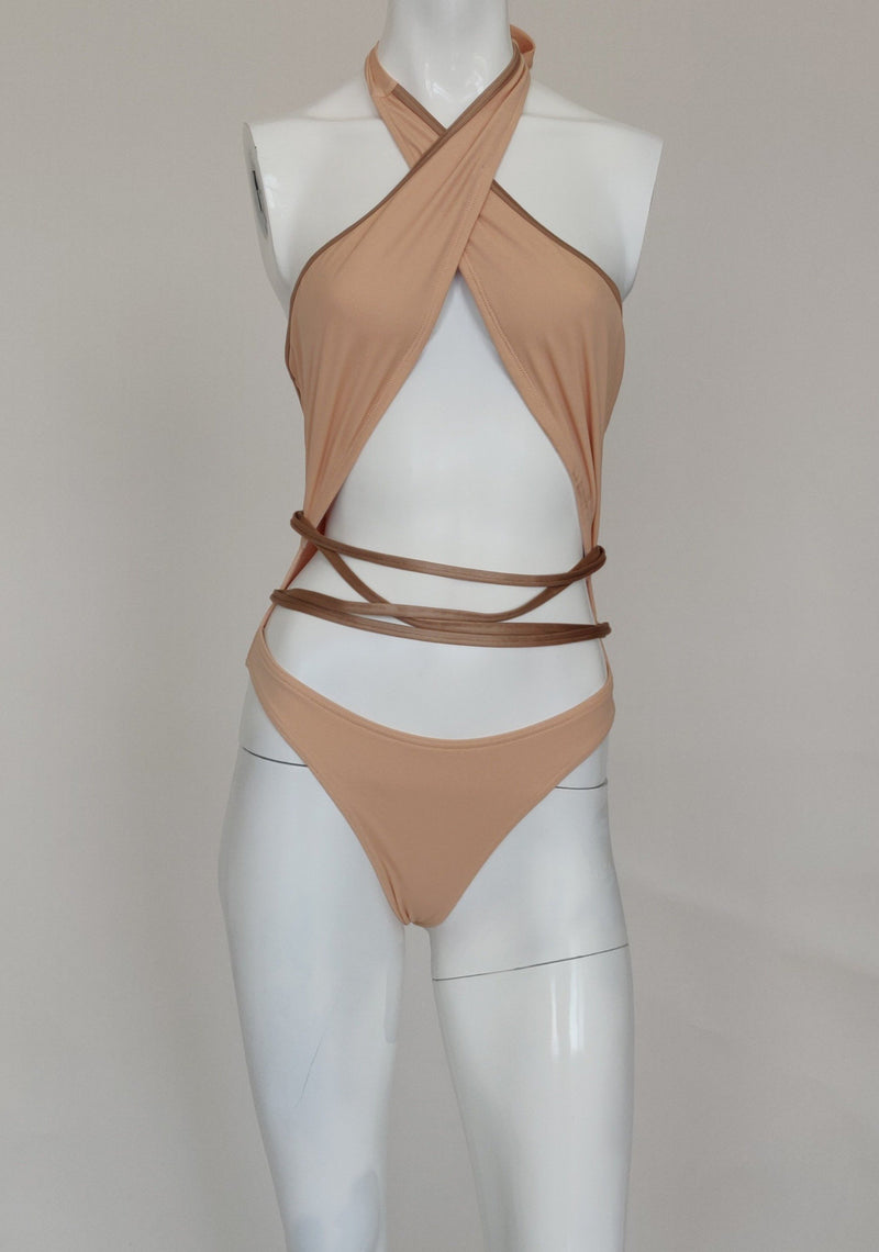 Forever 21 one piece beige swimsuit
