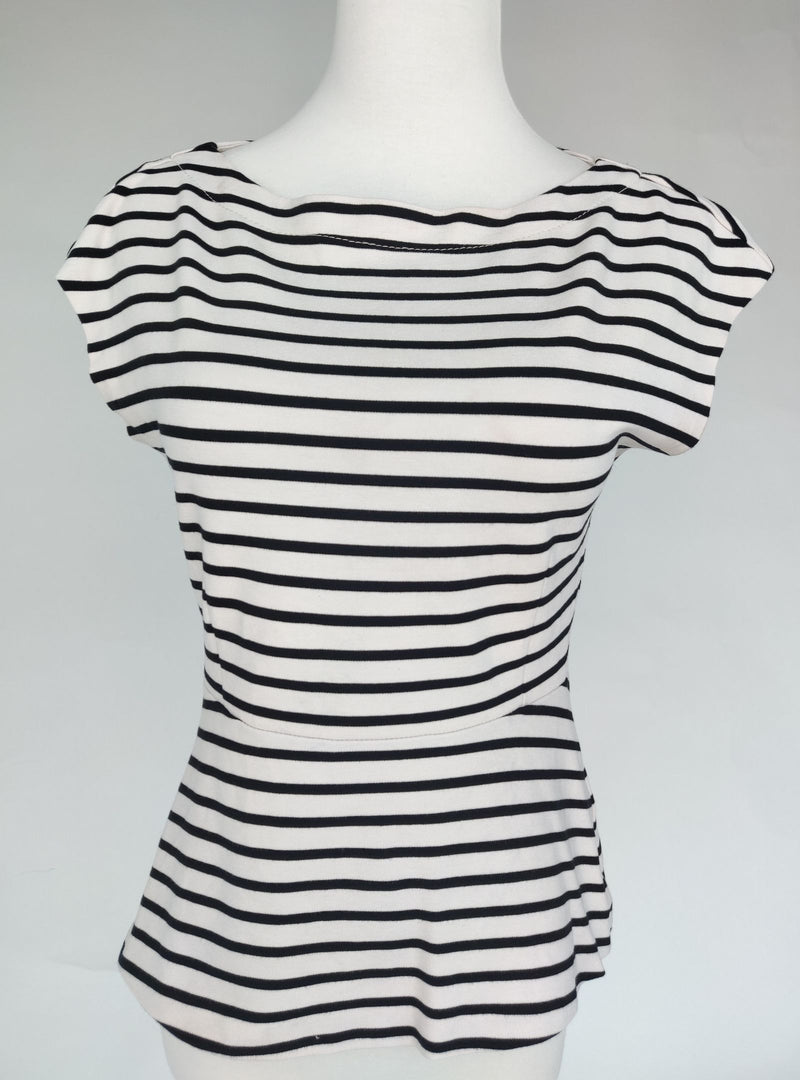 H&M Black and White Striped Peplum Top (Small)