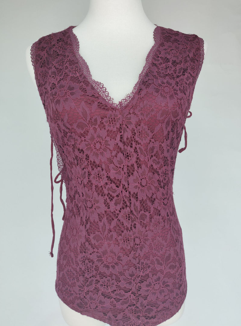 Bershka Night Out Plum Lace Body with Tie Details (Medium)