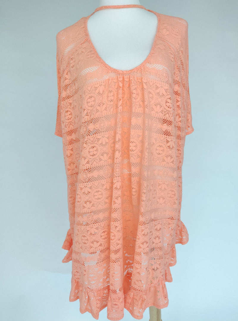 Victoria's Secret Light Coral Lace Beach Coverup (Medium - Large)