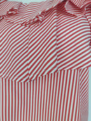 YOINS Red and White Striped Off-Shoulder Top with Ruffles (Small)