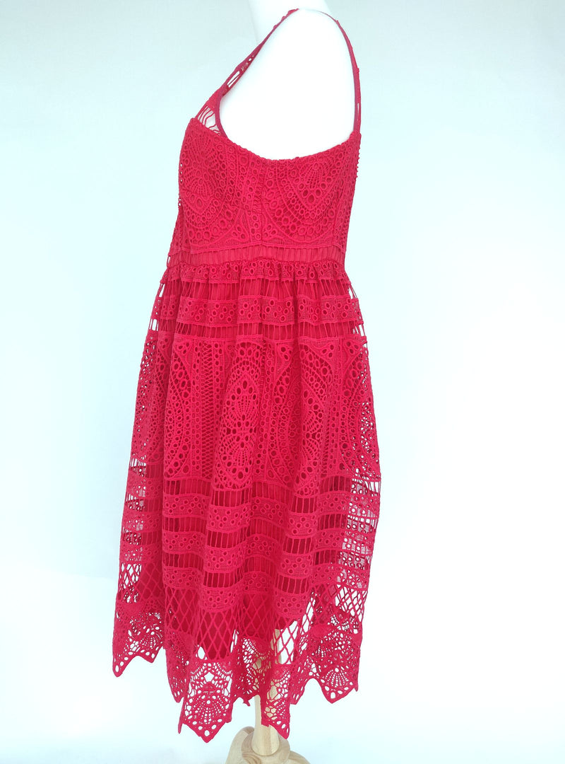 Lost Ink Red Lace Detail Dress (L-XL)
