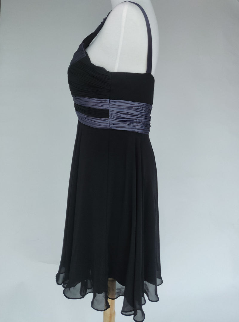 S.L. Fashions Black Occasion Dress with Grey Accents and Beaded Strap Detail (Large)